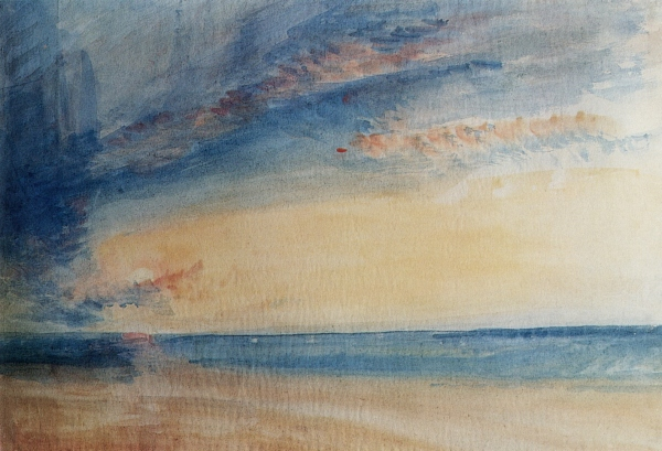 Joseph-Mallord-William-Turner-Paintings-Low-Sun-and-Clowds-over-a-Calm-Sea-1835